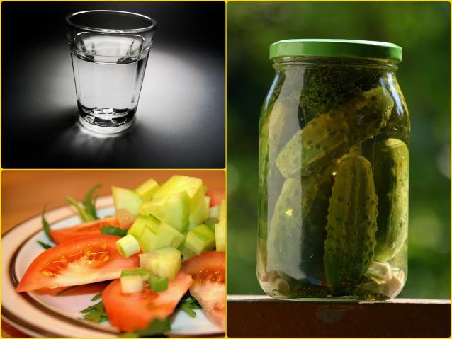 Овощи, особенно соленые огурчики (не маринованные!) станут правильной закуской для водки