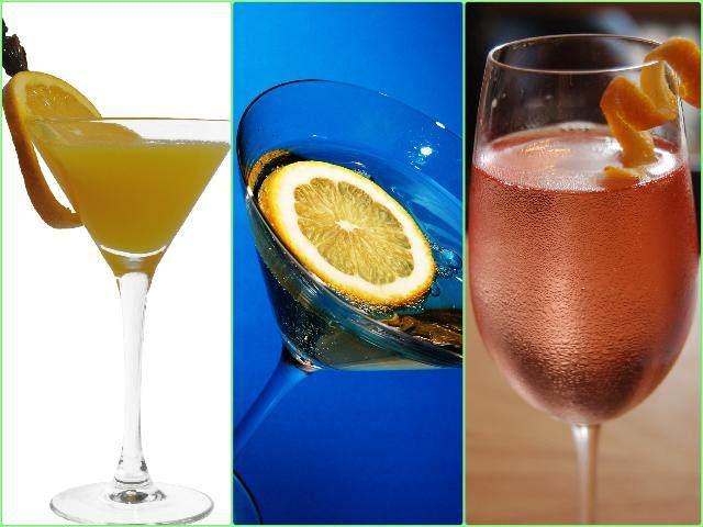 Простые коктейли: Мимоза, Северное сияние, Тинторетто (слева направо)